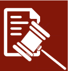 Red and white cartoon drawing of gavel and piece of paper
