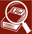 Red and white cartoon drawing of magnifying glass over a book with Law title