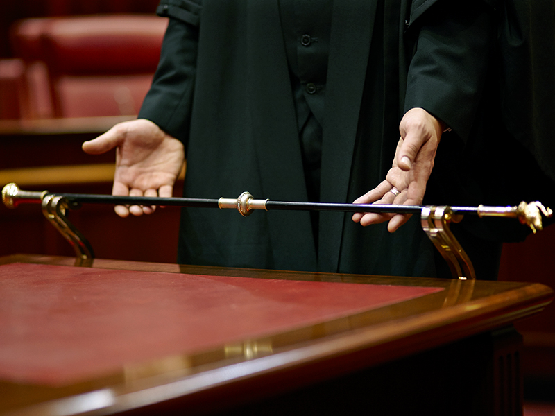 Legislative Council Black Rod being held