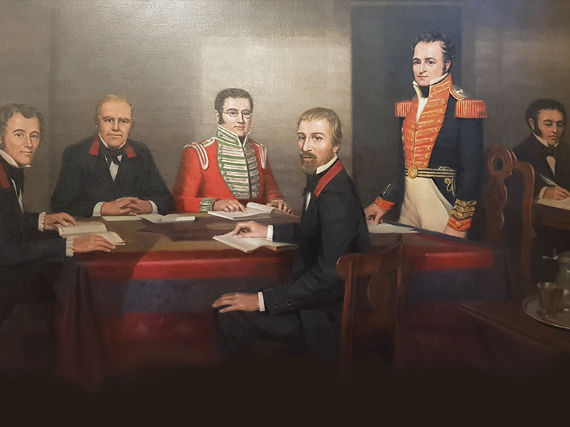 Painting An Early Meeting of the Legislative Council with six men in period dress