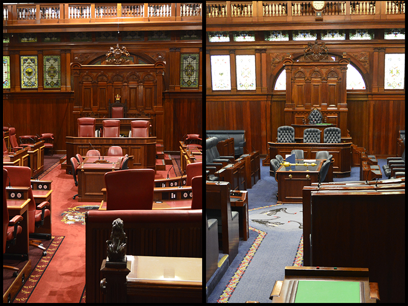 side by side images of the Legislative Council and Legislative Assembly chambers