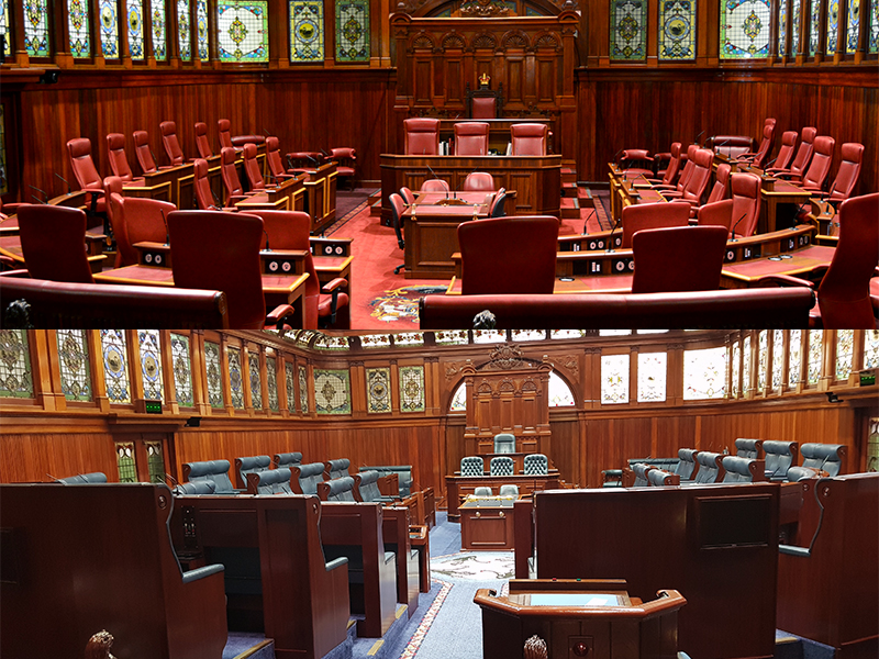 Legislative Council Chamber in top half, Legislative Assembly Chamber in lower half
