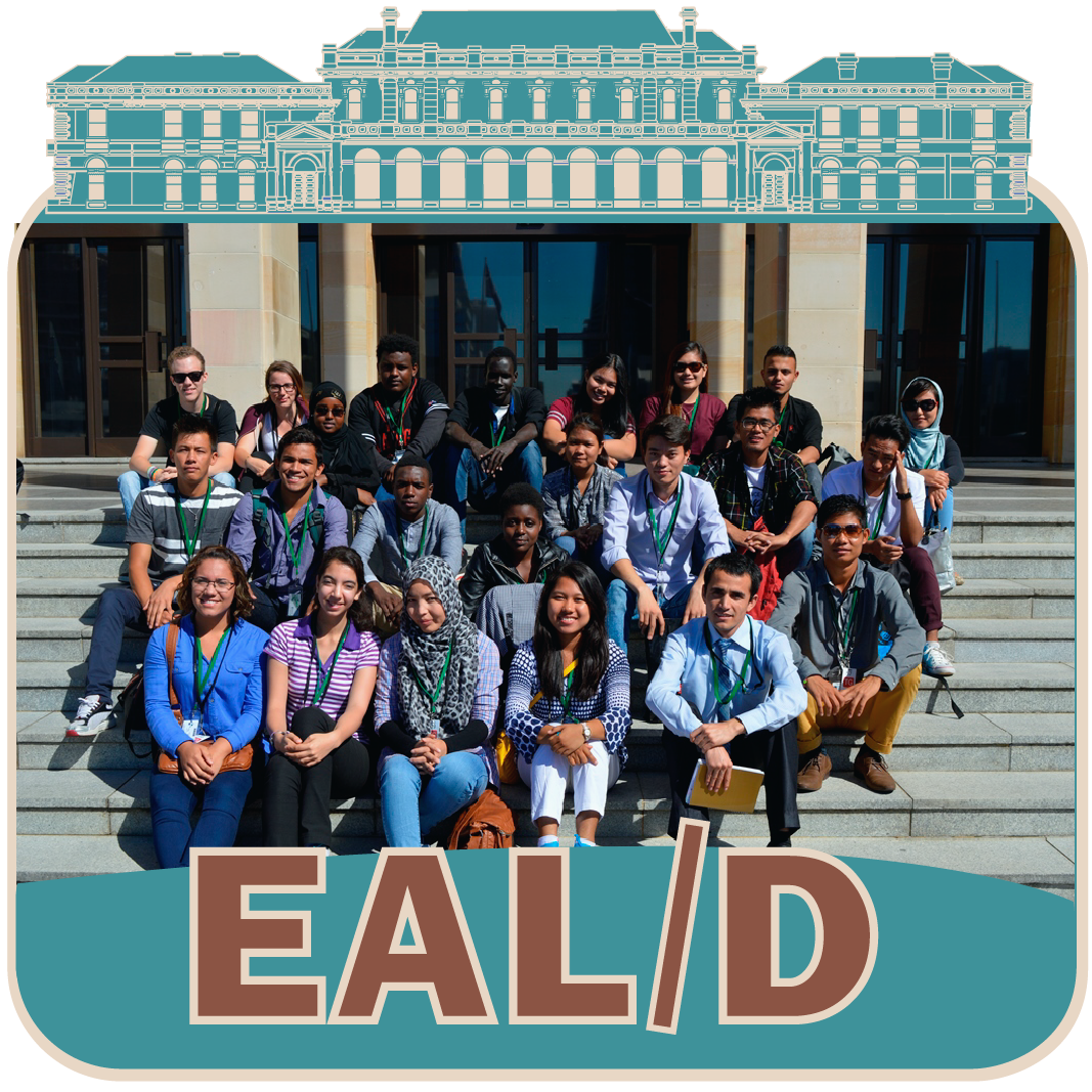 Group of English as a Second Language students seated on the steps of Parliament House, representing the EAL/D learning resource