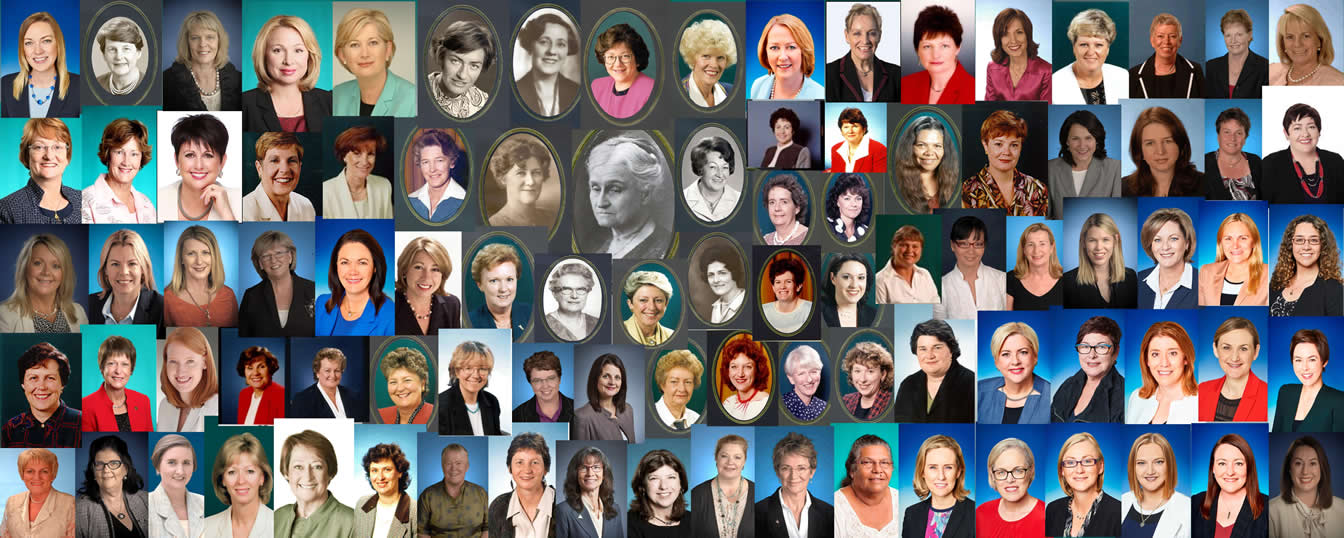 Head shots of the 93 current and former female Members of the Western Australian Parliament