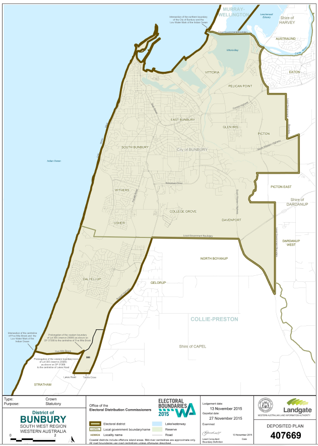 Bunbury Electorate map