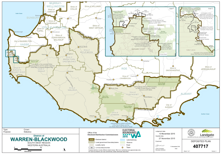 Warren-Blackwood Electorate map